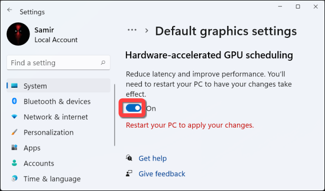 """Toggle on to enable the """"Hardware-Accelerated GPU Scheduling"""" feature."""