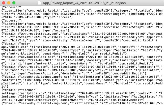 App Activity Report in NDJSON raw data format