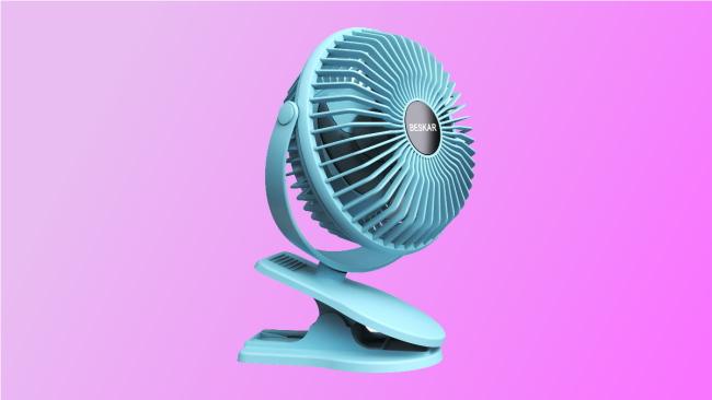 light blue beskar fan on pink background