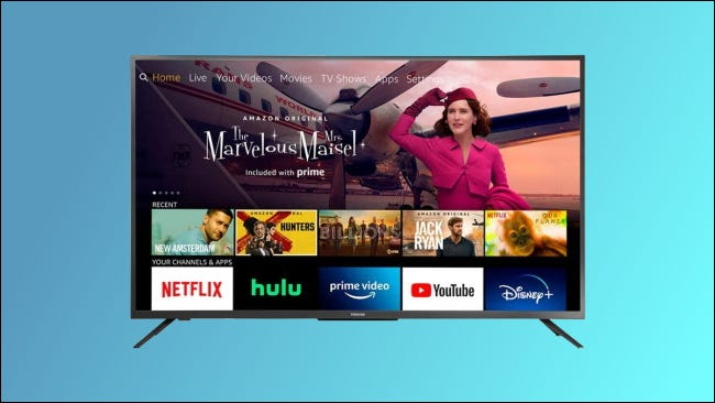 Toshiba Fire TV on blue background