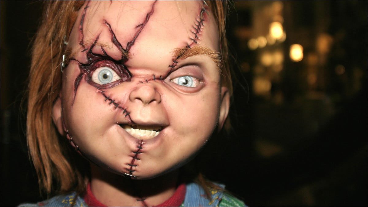 """Closeup of the face of Chucky character from """"Childs Play"""" movies"""
