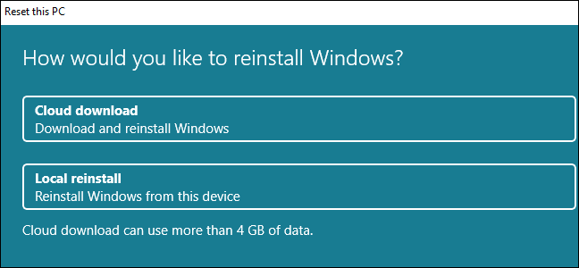 The Reset This PC dialog with options for Cloud Download and Local Reinstall.