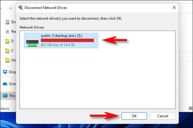 """Select the drive you want to disconnect, then click """"OK."""""""