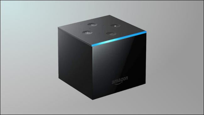 Fire TV Cube on grey background