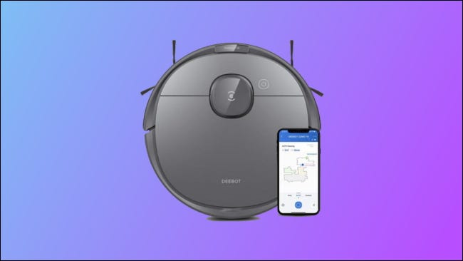 ecovacs deebot t8 on blue and purple background