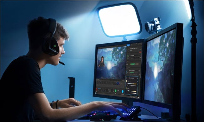 person streaming with elgato key light