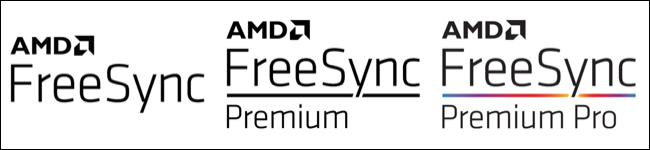 AMD logos for FreeSync, FreeSync Premium, and FreeSync Premium Pro