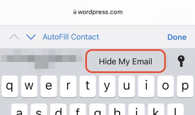 Χρησιμοποιήστε το Hide My Email από τη γραμμή QuickType