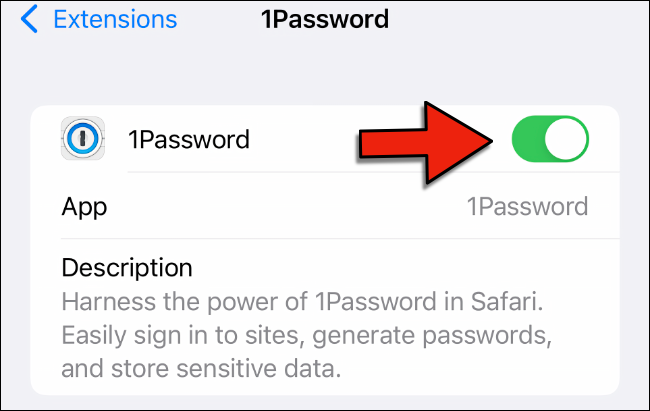 Tap the toggle button to enable the extension in Safari settings