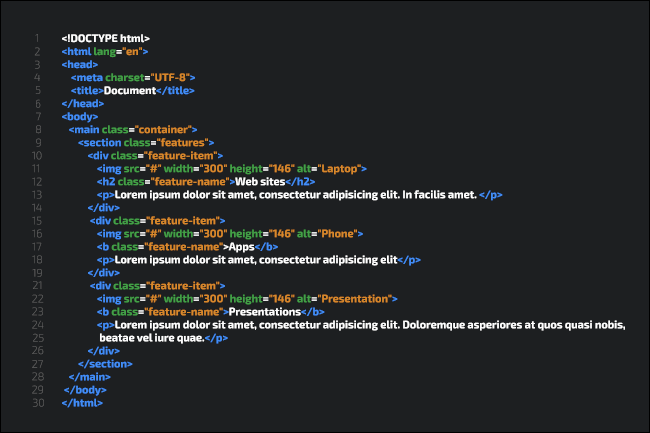 A sample of HTML code