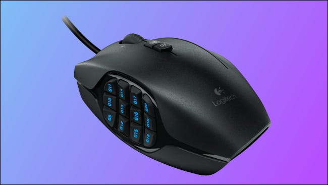 Logitech G600 on blue and purple background