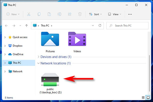 An example of a mapped network drive in File Explorer on Windows 11.