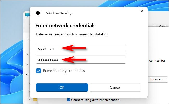 """Enter your network credentials, then click """"OK."""""""