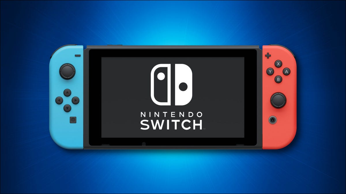 Nintendo Switch on a blue background