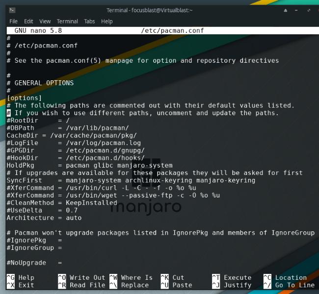 manjaro linux'da pacman yapılandırma dosyası
