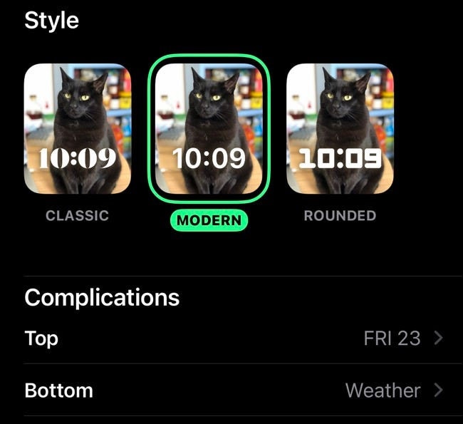 Choose style and complications for Portraits Watch face