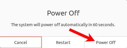 """Aguarde 60 segundos para que a máquina desligue ou clique em """"Desligar"""" para pular."""
