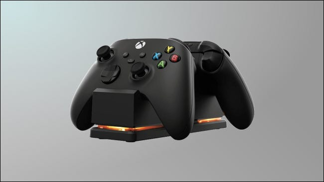 Xbox controllers on PowerA charging station