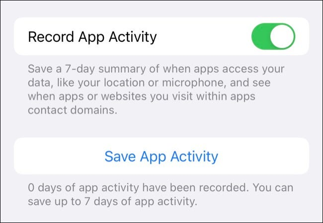 Toggle on Record App Activity