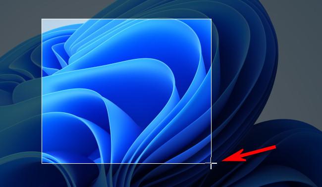 ارسم تحديدًا مستطيلًا على الشاشة باستخدام مؤشر الماوس.
