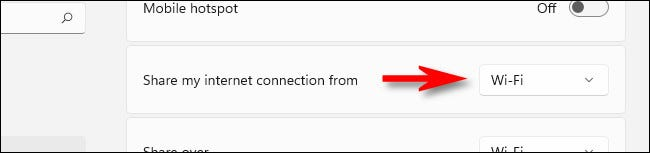 """Click the drop-down menu labeled """"Share my internet connection from."""""""