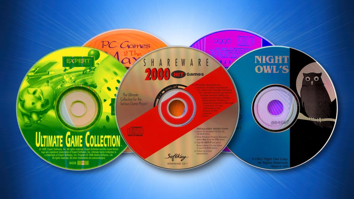 Shareware CDs on a blue background