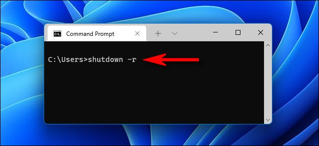 """At the command prompt, type """"shutdown -r"""" and hit Enter."""