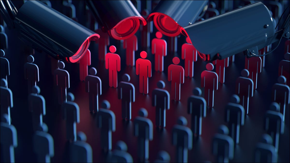 Concept of big data surveillance spying on individuals.