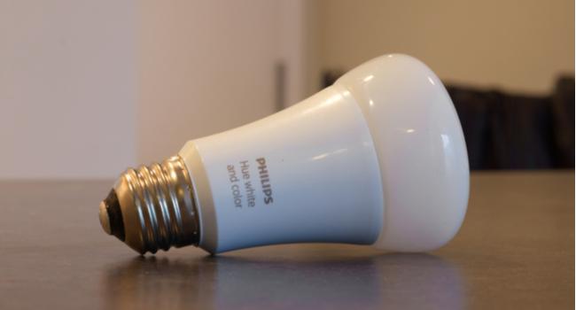 Philips Hue light bulb on table