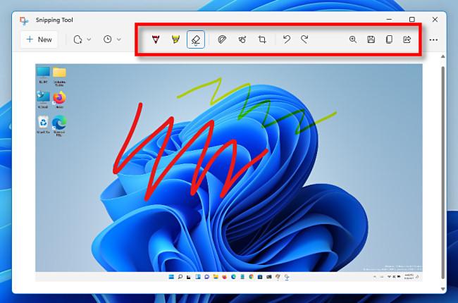 شريط أدوات القص في Windows 11.