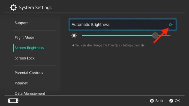 Nintendo Switch Automatic Brightness