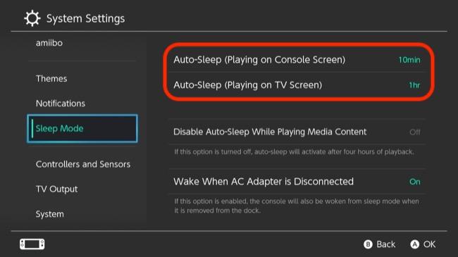 Nintendo Switch Automatic Sleep Mode