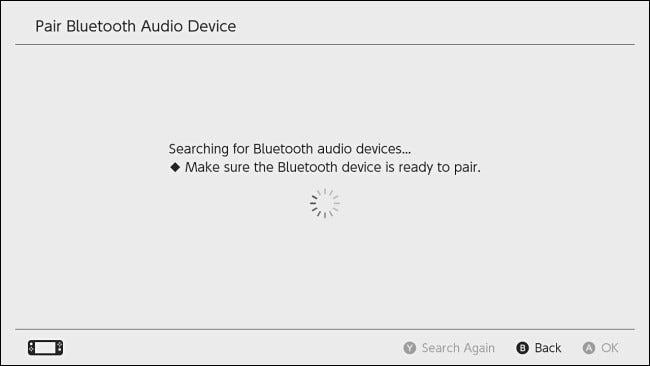 """The Switch """"Searching for Bluetooth audio devices"""" screen."""