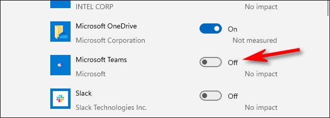 """Click the switch beside """"Microsoft Teams"""" to turn it """"Off."""""""