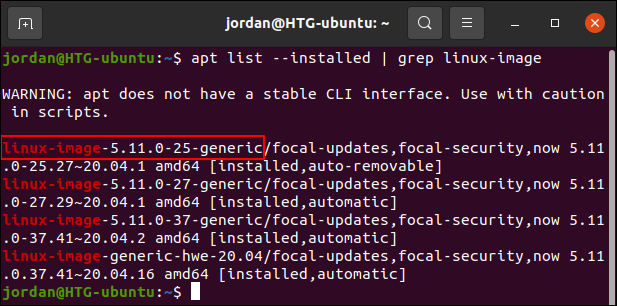 List installed kernels in Ubuntu using apt