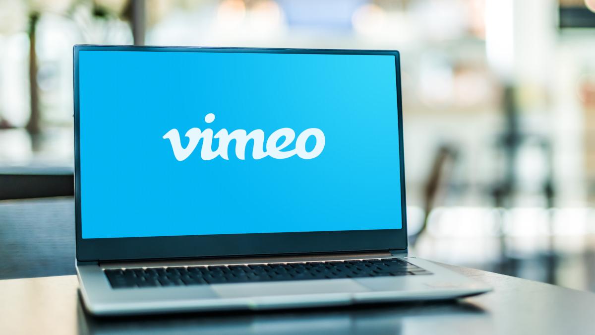 Open laptop displaying Vimeo logo