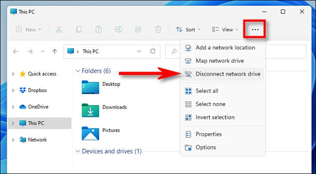 """Click the ellipses (three dots) button in the File Explorer toolbar and select """"Disconnect Network Drive."""""""