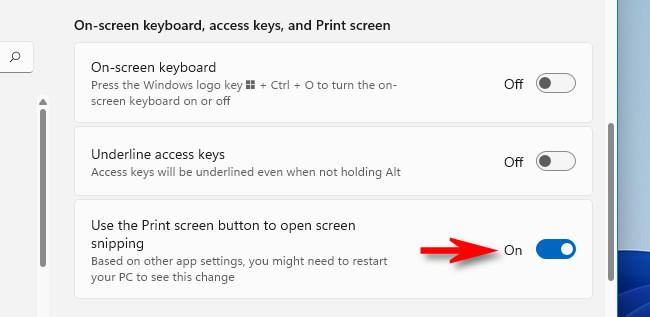 """اقلب المفتاح الموجود بجوار """"استخدم زر طباعة الشاشة لفتح قص الشاشة"""" إلى """"تشغيل""""."""