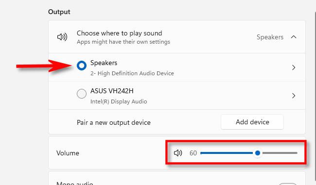 Selecione o dispositivo de saída de som que deseja ajustar e use o controle deslizante de volume.