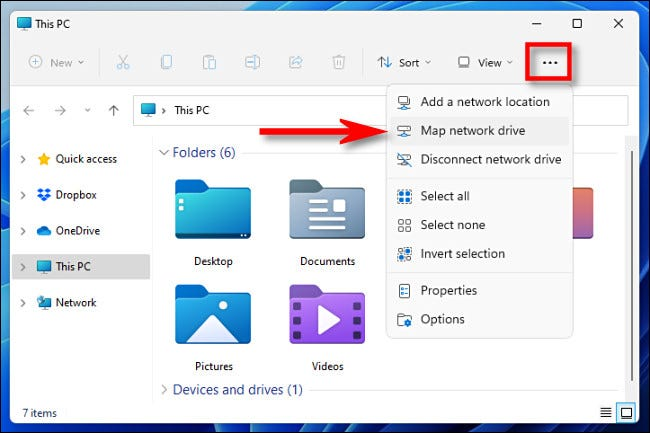 """Click the ellipses (three dots) button in the File Explorer toolbar and select """"Map Network Drive."""""""