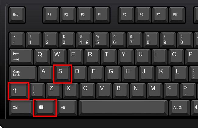 اضغط على Windows + Shift + S على لوحة المفاتيح.