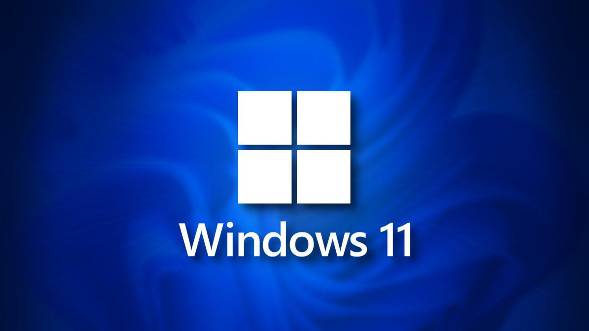 Windows 11 logo on a dark blue shadow background