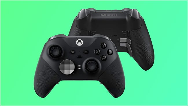 xbox elite series 2 controllers on green background