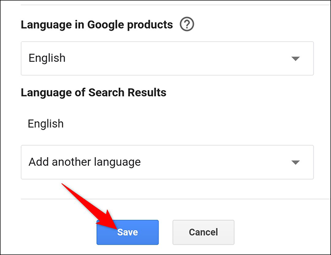 """Tap """"Save"""" on the """"Search Settings"""" page on Google Search on mobile."""