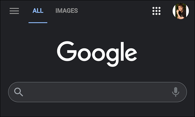 Google Search on mobile in dark mode.