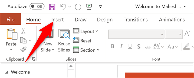 """Click """"Insert"""" at the top of PowerPoint."""