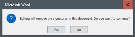 Uma mensagem de aviso informando a assinatura será removida quando editada.