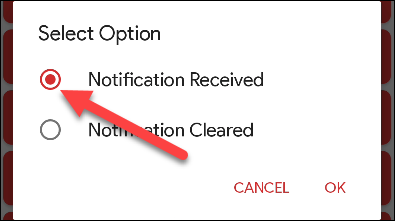 """Select """"Notification Received."""""""