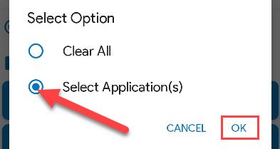 "Choose ""Select Applications."""