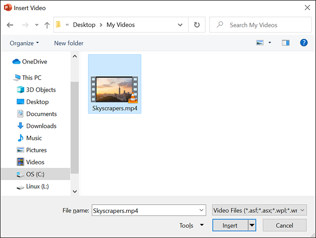 """Double-click a video in the """"open"""" window."""